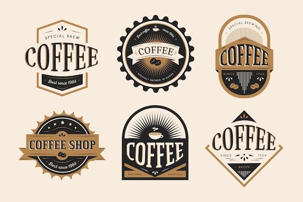 Set logo retrò caffetteria Vettore gratuito
