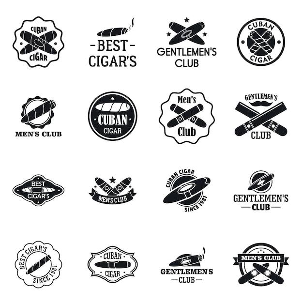 Set logo sigaro Vettore Premium