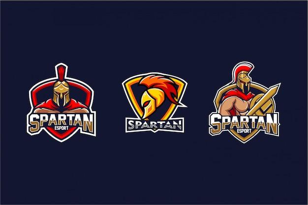 Set logo spartano Vettore Premium