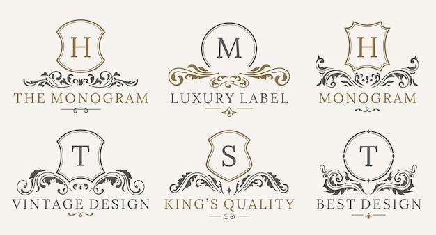 Set logotipo retrò royal vintage shields. modello di progettazione logo di lusso Vettore Premium