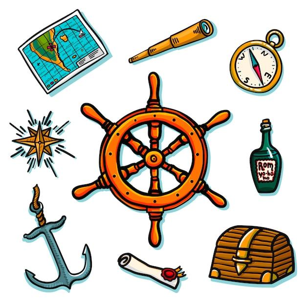 Set marino. equipaggiamento di bordo. tronco, timone, mappa, pergamena, bussola, rosa dei venti, bottiglia di rum, telescopio, ancora. Vettore Premium