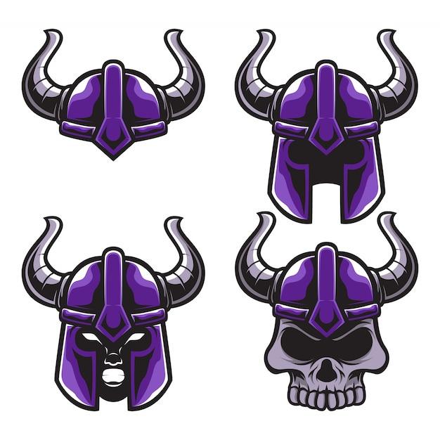 Set mascotte casco casco viking logo mascotte Vettore Premium