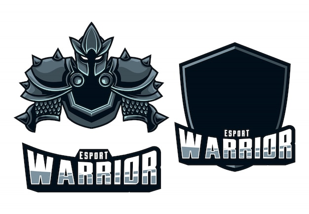 Set mascotte logo esport warrior Vettore Premium