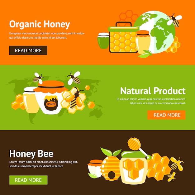 Set modello di banner piatto miele Vettore Premium