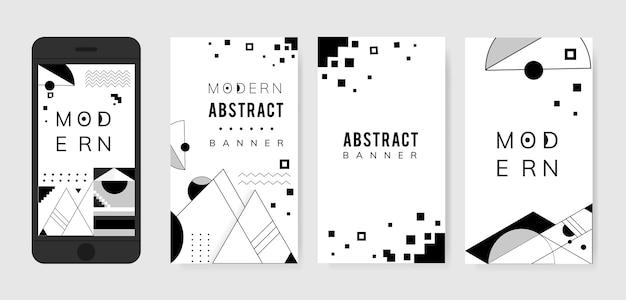 Set modello moderno astratto bianco e nero Vettore gratuito