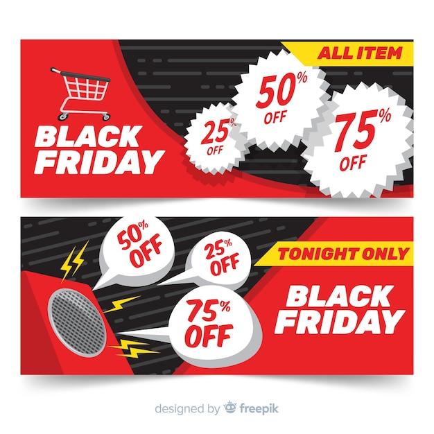 Set moderno di banner di venerdì nero con design piatto Vettore gratuito