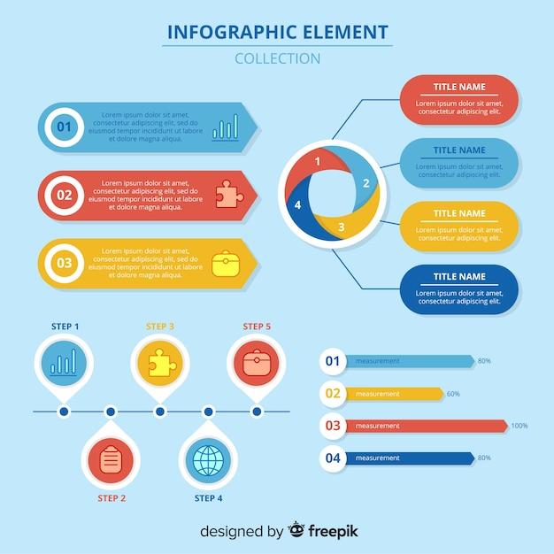 Set moderno di elementi di infografica con design piatto Vettore gratuito