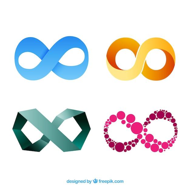 Set moderno di simboli infinito colorati Vettore gratuito