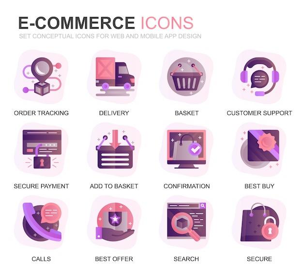 Set moderno e-commerce e icone piane di acquisto Vettore Premium