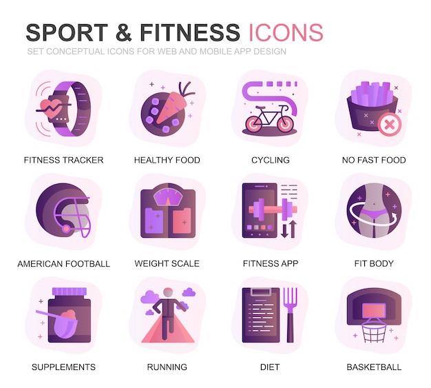 Set moderno icone piane di fitness e sport Vettore Premium