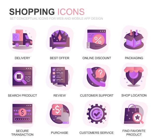 Set moderno shopping e icone piatte gradiente e-commerce Vettore Premium