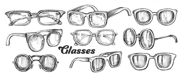 Set monocromatico accessorio moda occhiali Vettore Premium