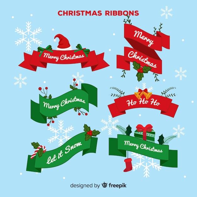 Set nastri natalizi Vettore gratuito