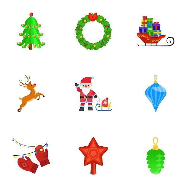 Set natalizio, stile piatto Vettore Premium