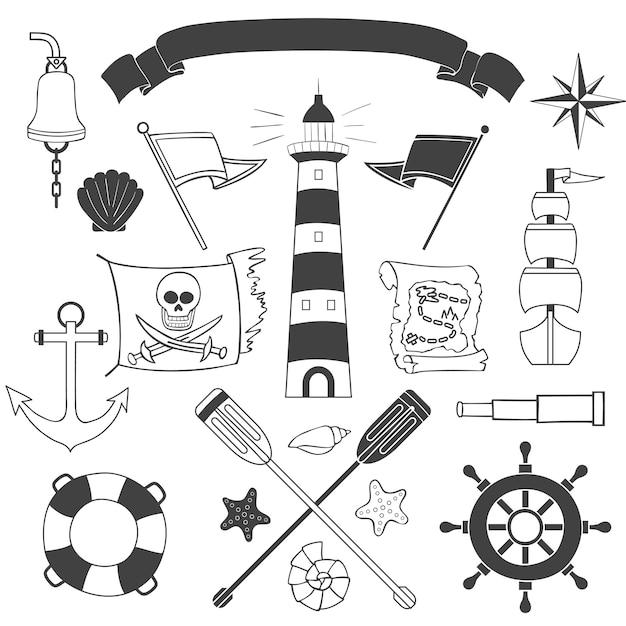Set nautico e marino Vettore Premium