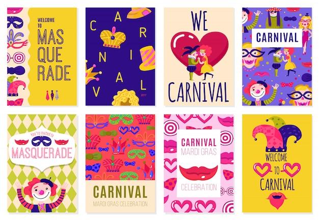 Set of eight carnival posters Vettore Premium