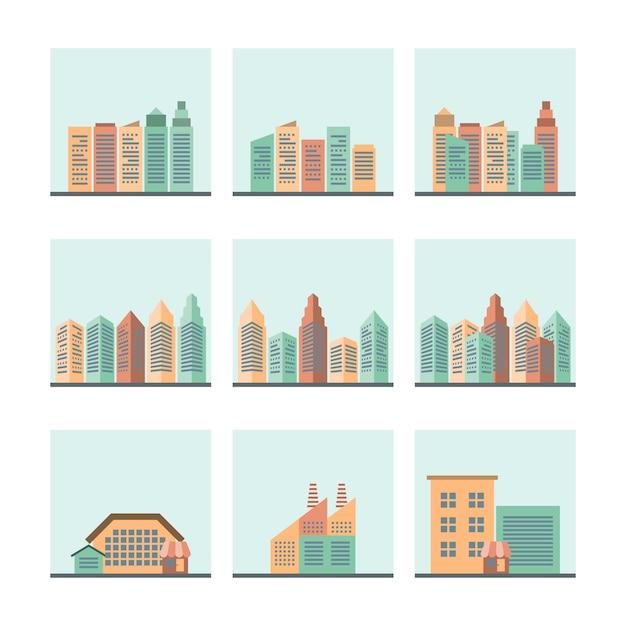 Set paesaggio urbano Vettore gratuito