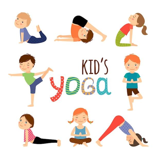 Set per bambini di yoga Vettore Premium