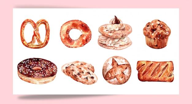 Set per pasticceria da forno per la progettazione Vettore Premium