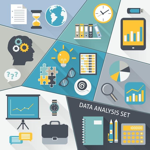Set piatto di analisi dei dati Vettore gratuito