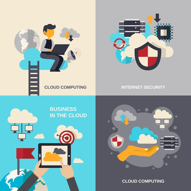Set piatto di cloud computing Vettore gratuito