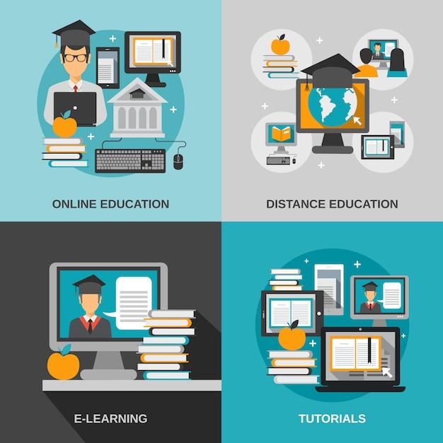 Set piatto di e-learning Vettore gratuito