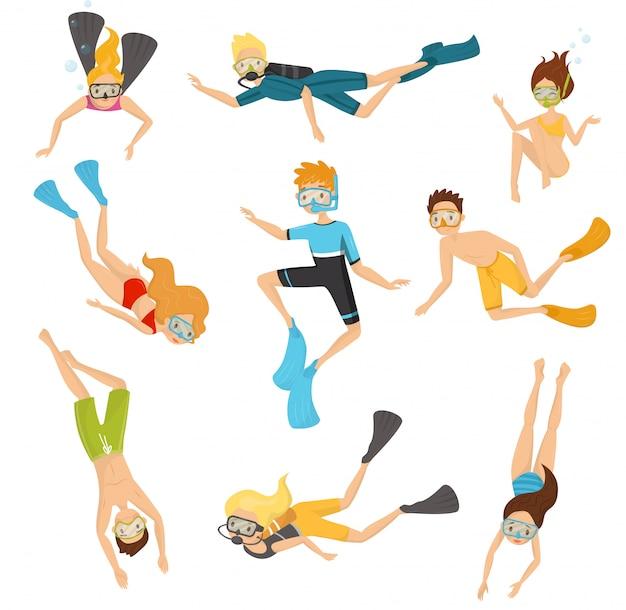 Set piatto di giovani sub. persone in costume da bagno che nuotano sott'acqua. ricreazione attiva. immersioni e snorkeling Vettore Premium