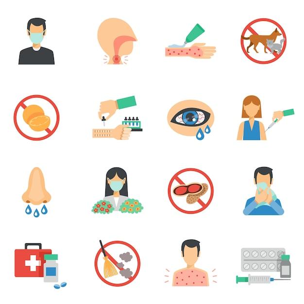 Set piatto di icone di allergia Vettore gratuito
