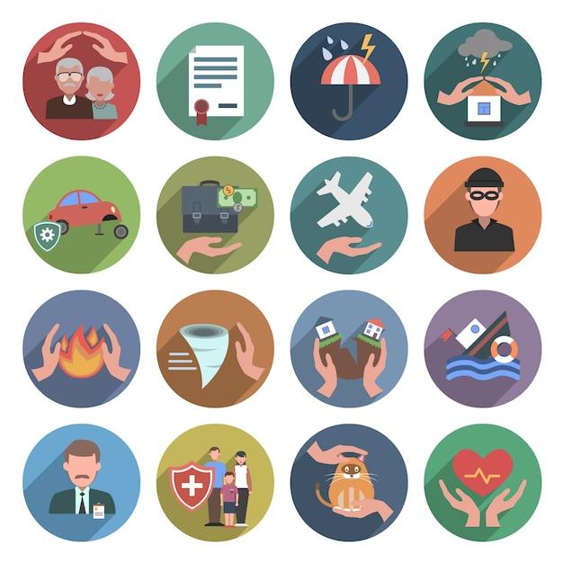 Set piatto di icone di assicurazione Vettore Premium
