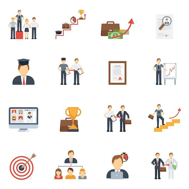 Set piatto di icone di carriera Vettore gratuito