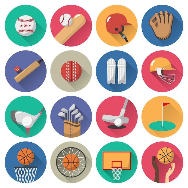 Set piatto di icone di sport Vettore gratuito