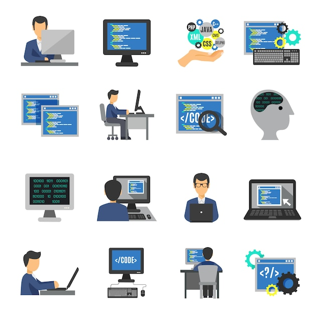 Set piatto di icone programmatore Vettore gratuito