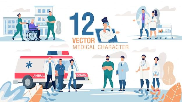 Set piatto di personaggi professionisti medici Vettore Premium