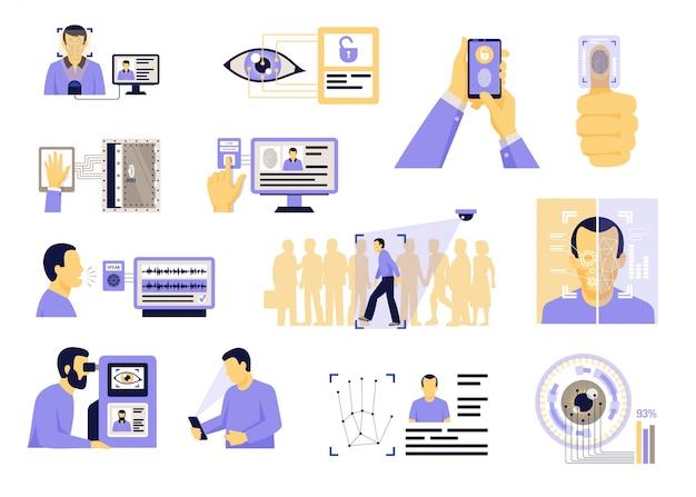 Set piatto di tecnologie di identificazione Vettore gratuito