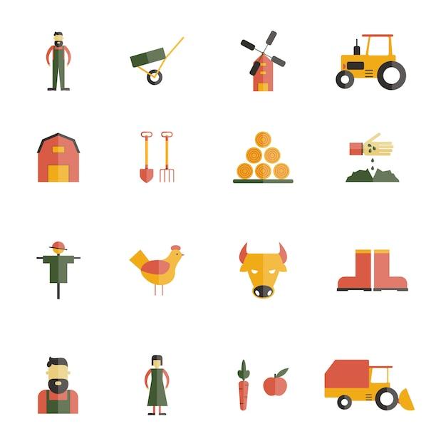 Set piatto icona di fattoria Vettore gratuito