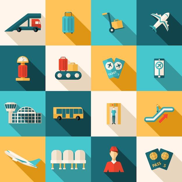 Set piatto icone di aeroporto Vettore gratuito