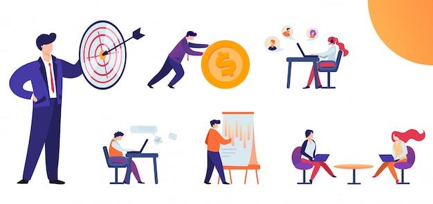 Set piatto modi e metodi per raggiungere l'obiettivo. Vettore Premium