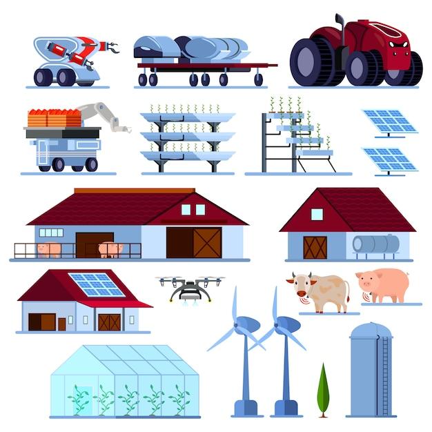 Set piatto ortogonale smart farming Vettore gratuito