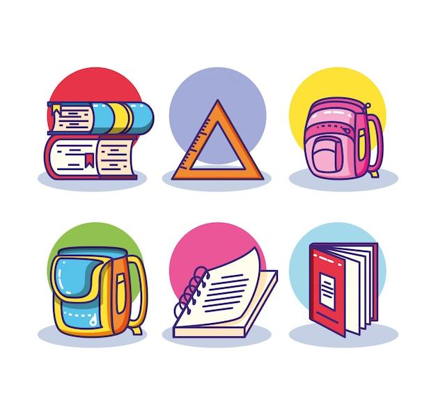 Set pila di libri e materiale scolastico Vettore Premium