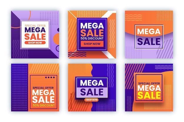 Set post di instagram di vendita Vettore gratuito