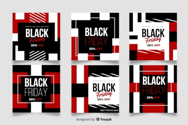 Set post venerdì nero di instagram Vettore gratuito