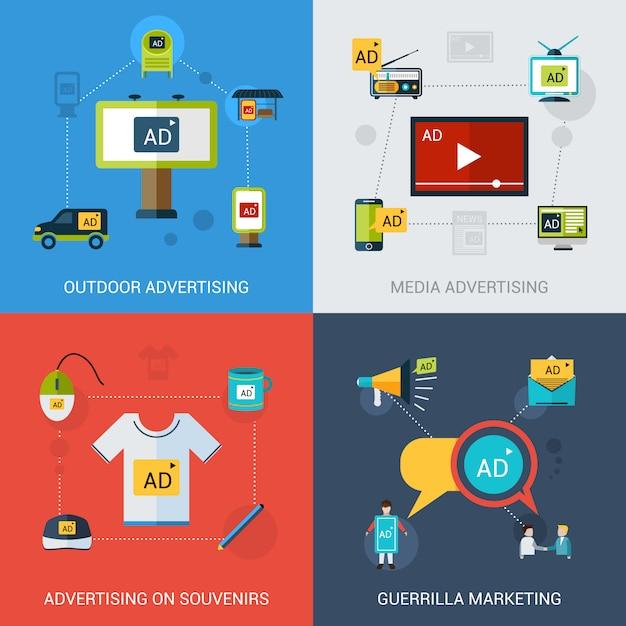 Set pubblicitario isolato Vettore Premium