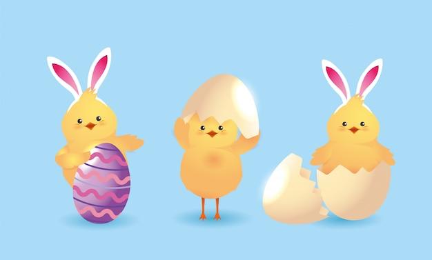 Set pulcino con orecchie da coniglio diadema e decorazione di uova Vettore Premium
