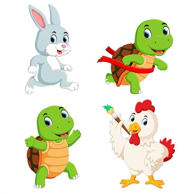 Set raccolta di tartarughe, conigli e polli Vettore Premium
