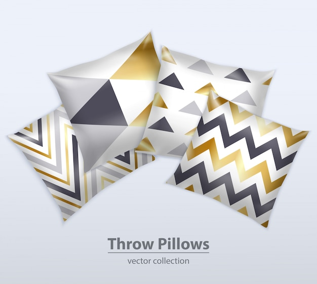 Set realistico cuscini decorativi Vettore gratuito