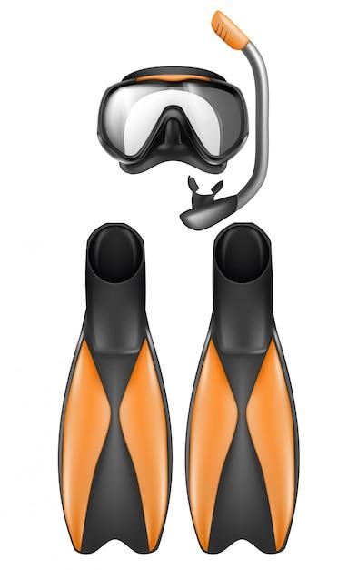 Set realistico di attrezzatura da sub, maschera da snorkeling con boccaglio e pinne Vettore gratuito