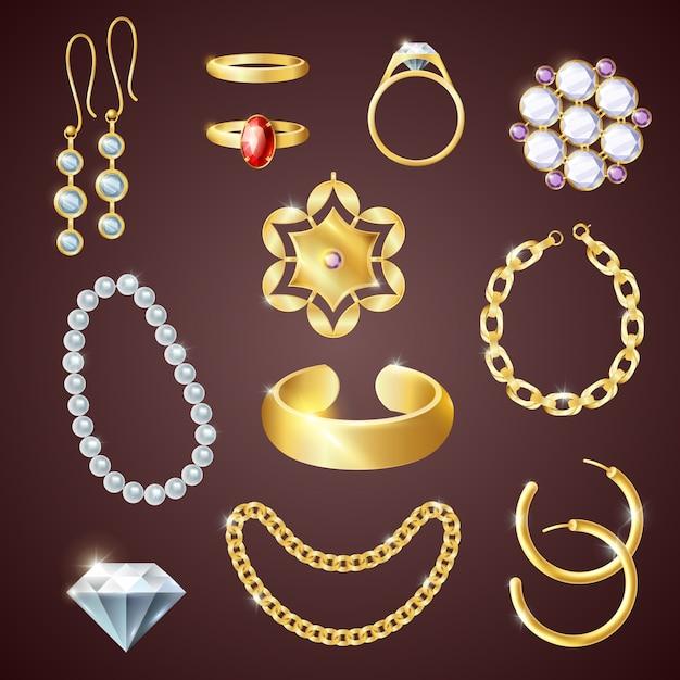 Set realistico di gioielli Vettore gratuito
