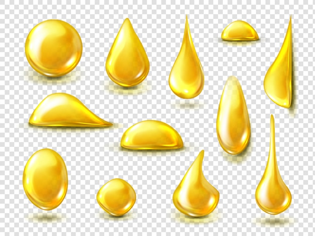 Set realistico di gocce d'oro di olio o miele Vettore gratuito
