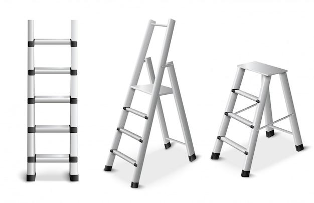 Set realistico di scale metalliche Vettore gratuito