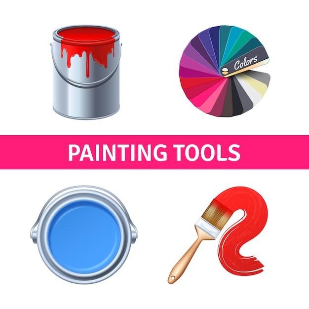 Set realistico di strumenti di pittura con pennello e scatola di colori Vettore gratuito
